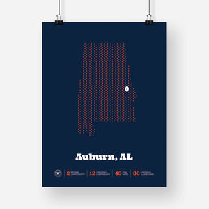 Auburn, Alabama Football Map Stats Poster