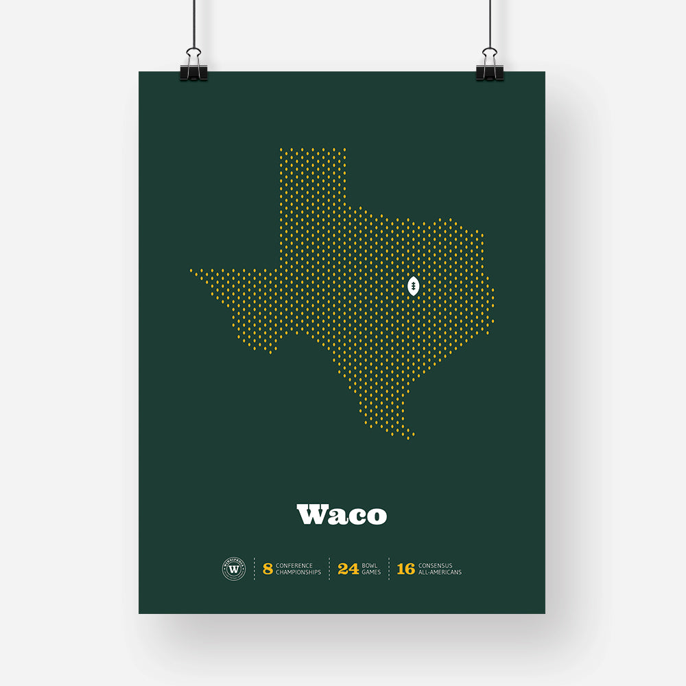 Waco, Texas Football Map Stats Poster