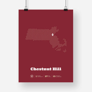 Chestnut Hill, Massachusetts Football Map Stats Poster