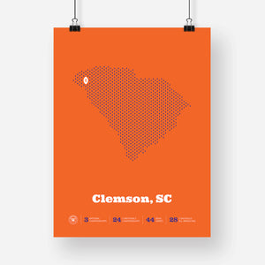 Clemson, South Carolina Football Map Stats Poster