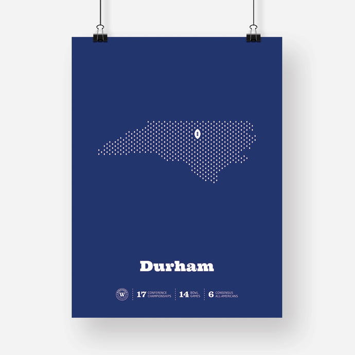 Durham, North Carolina Football Map Stats Poster