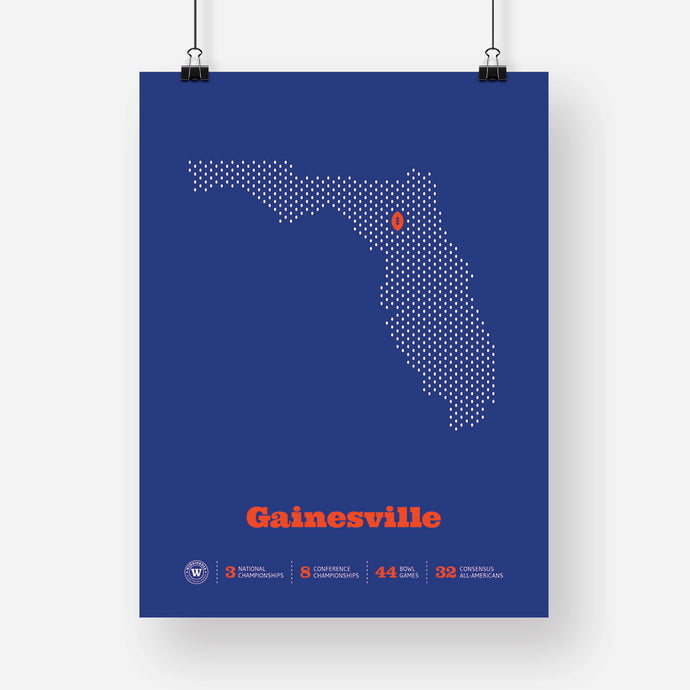 Gainesville, Florida Football Map Stats Poster