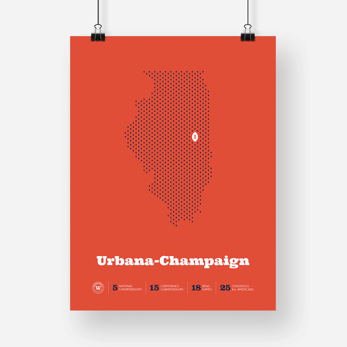 Urbana-Champaign, Illinois Football Map Stats Poster