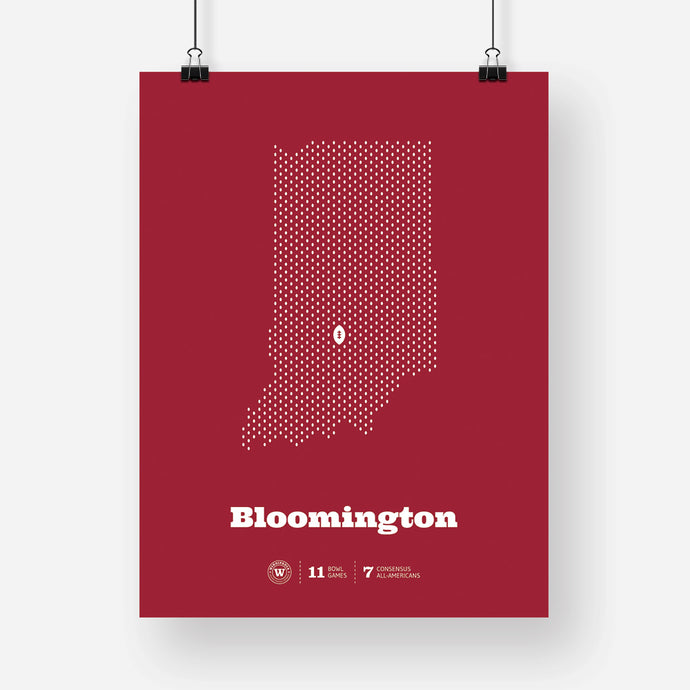 Bloomington, Indiana Football Map Stats Poster