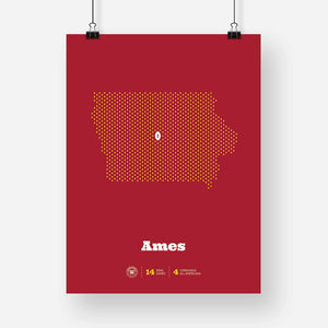 Ames, Iowa Football Map Stats Poster