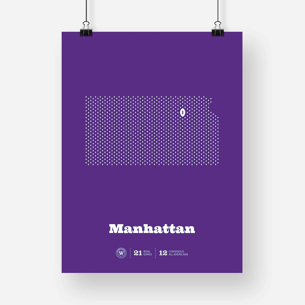 Manhattan, Kansas Football Map Stats Poster