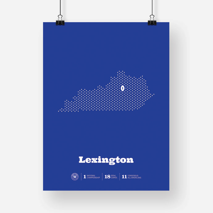 Lexington, Kentucky Football Map Stats Poster