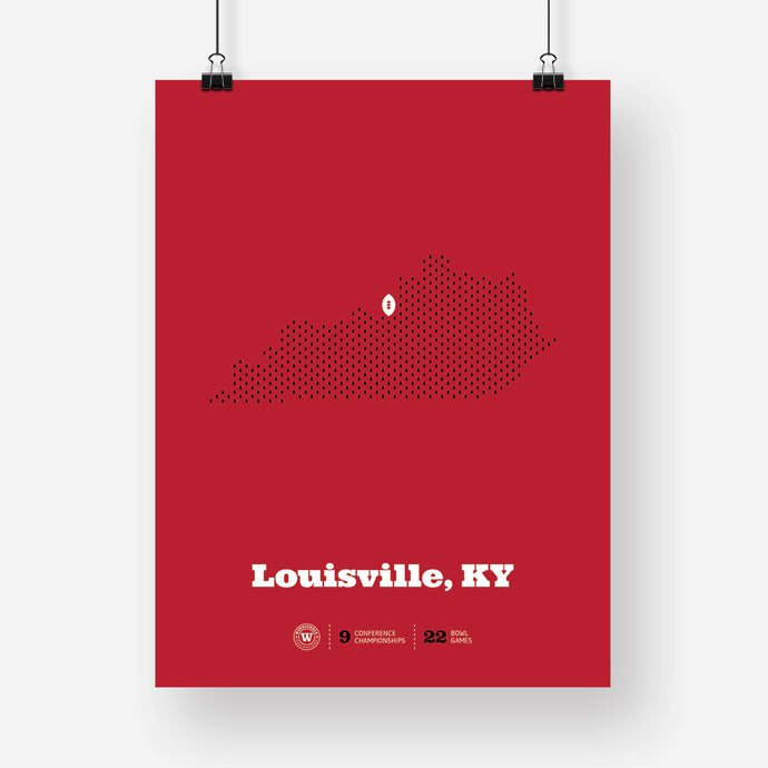 Louisville, Kentucky Football Map Stats Poster