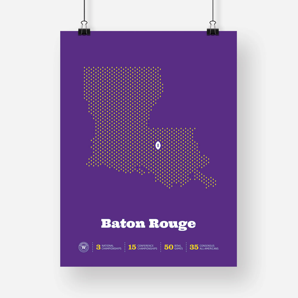 Baton Rouge, Louisiana Football Map Stats Poster