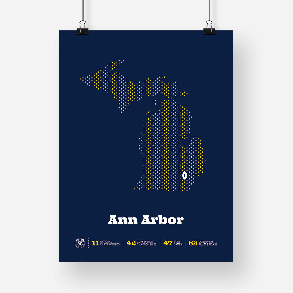 Ann Arbor, Michigan Football Map Stats Poster