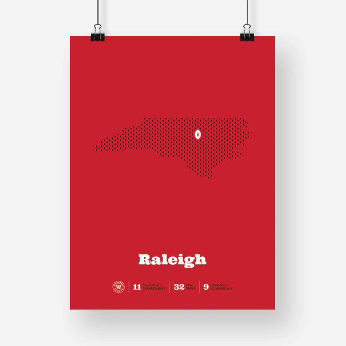 Raleigh, North Carolina Football Map Stats Poster
