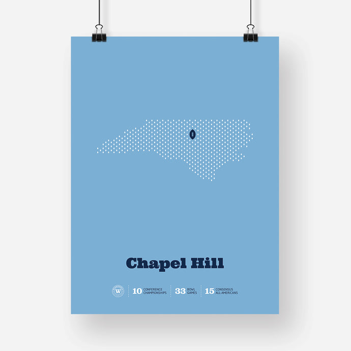 Chapel Hill, North Carolina Football Map Stats Poster