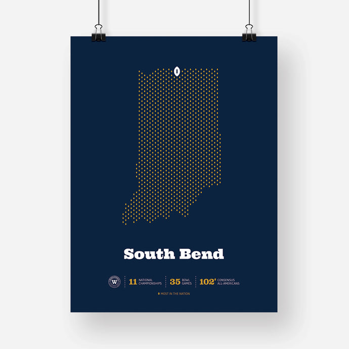 South Bend, Indiana Football Map Stats Poster