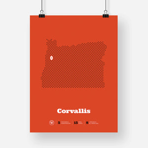 Corvallis, Oregon Football Map Stats Poster