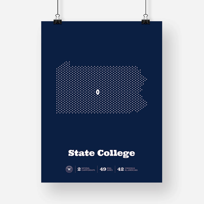 State College, Pennsylvania Football Map Stats Poster