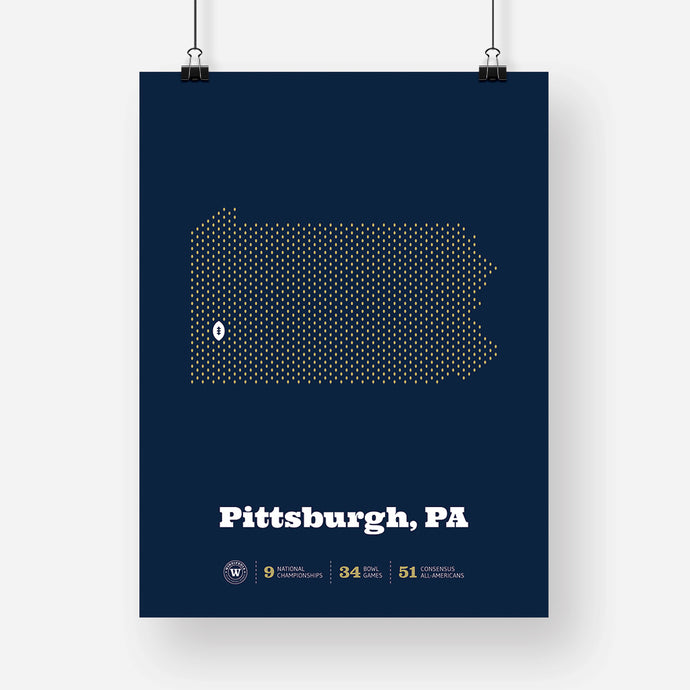 Pittsburgh, Pennsylvania Football Map Stats Poster