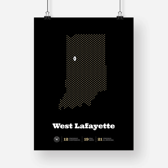 West Lafayette, Indiana Football Map Stats Poster