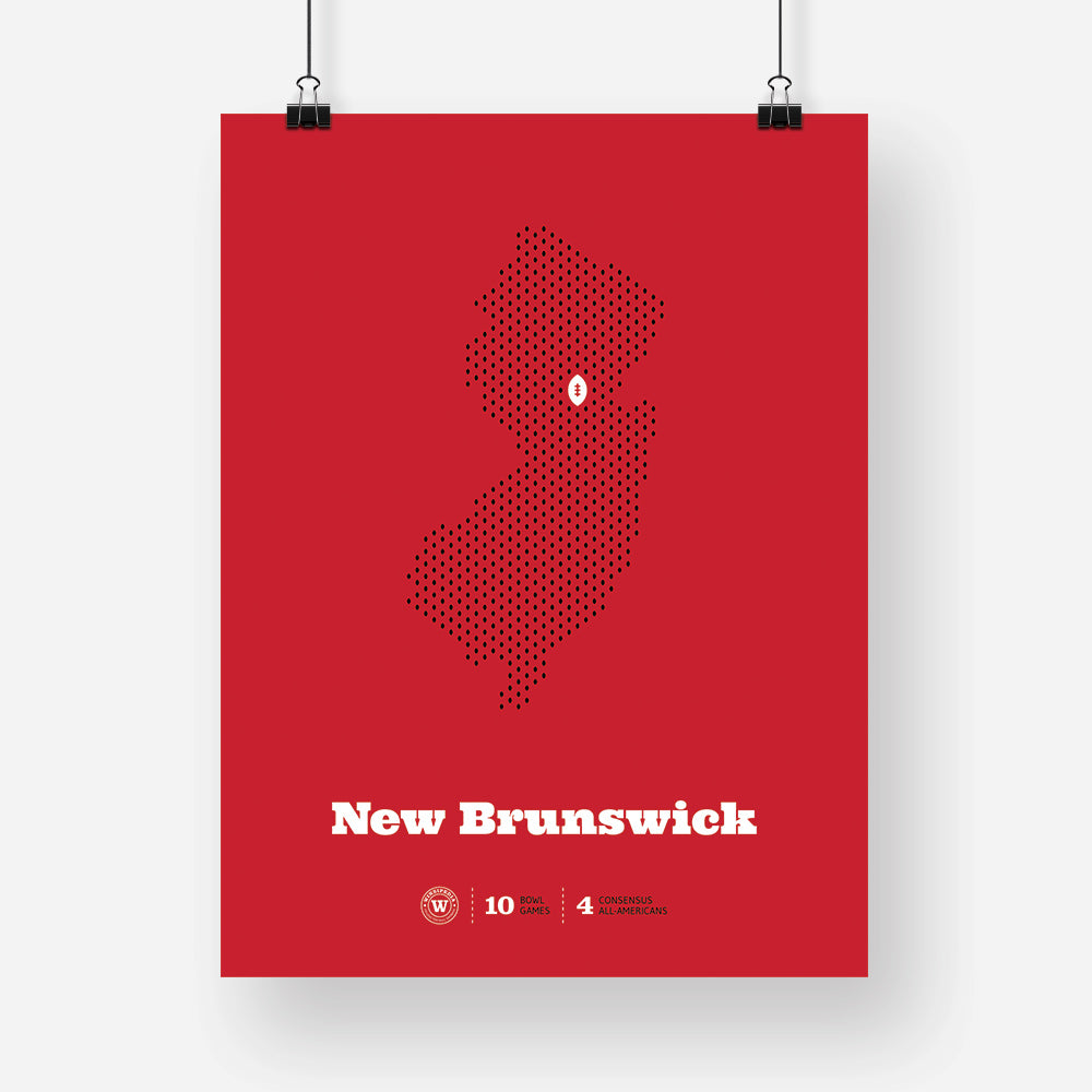 New Brunswick, New Jersey Football Map Stats Poster