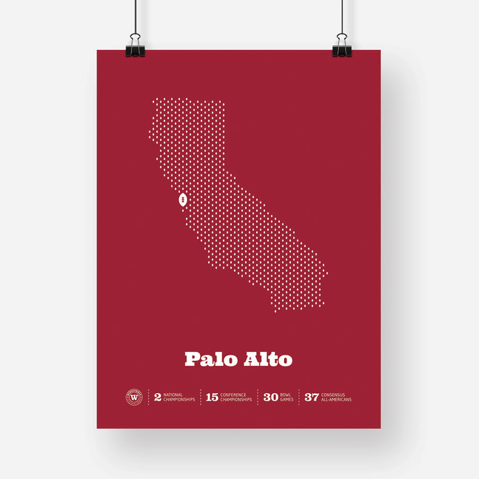 Palo Alto, California Football Map Stats Poster