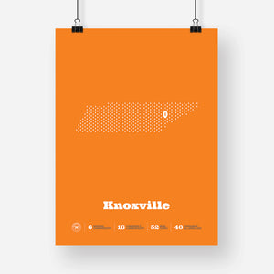 Knoxville, Tennessee Football Map Stats Poster