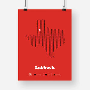 Lubbock, Texas Football Map Stats Poster