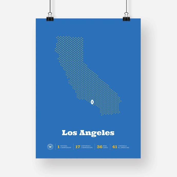 Los Angeles, California Football Map Stats Poster, Blue