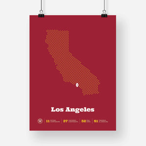 Los Angeles, California Football Map Stats Poster, Cardinal
