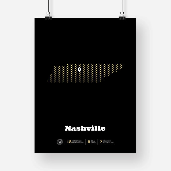 Nashville, Tennessee Football Map Stats Poster