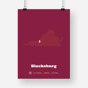 Blacksburg, Virginia Football Map Stats Poster