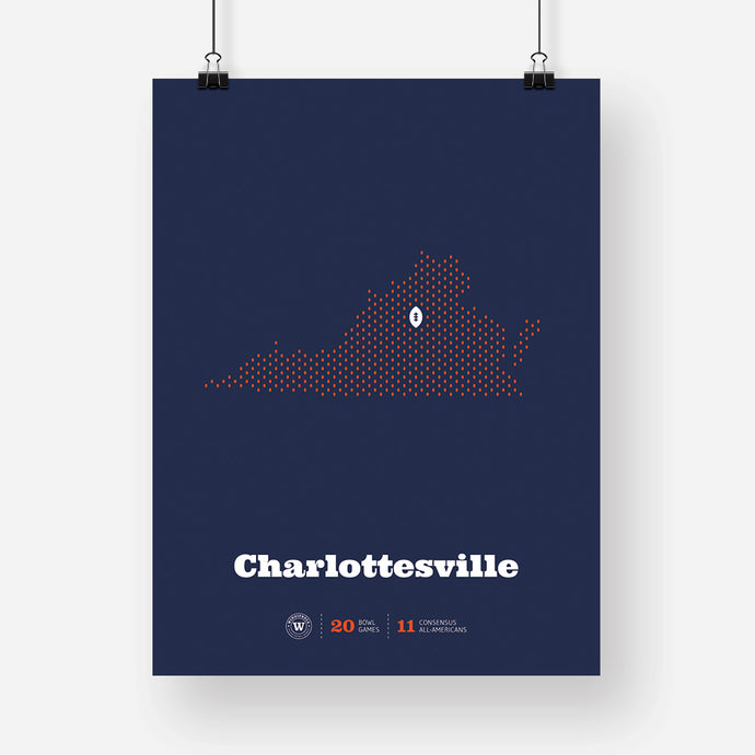 Charlottesville, Virginia Football Map Stats Poster