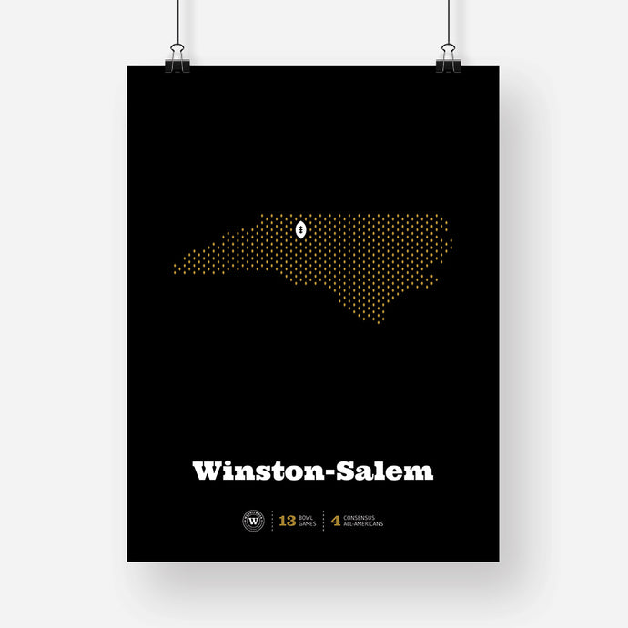 Winston-Salem, North Carolina Football Map Stats Poster