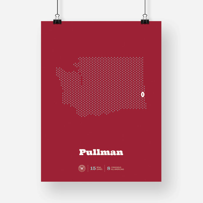 Pullman, Washington Football Map Stats Poster