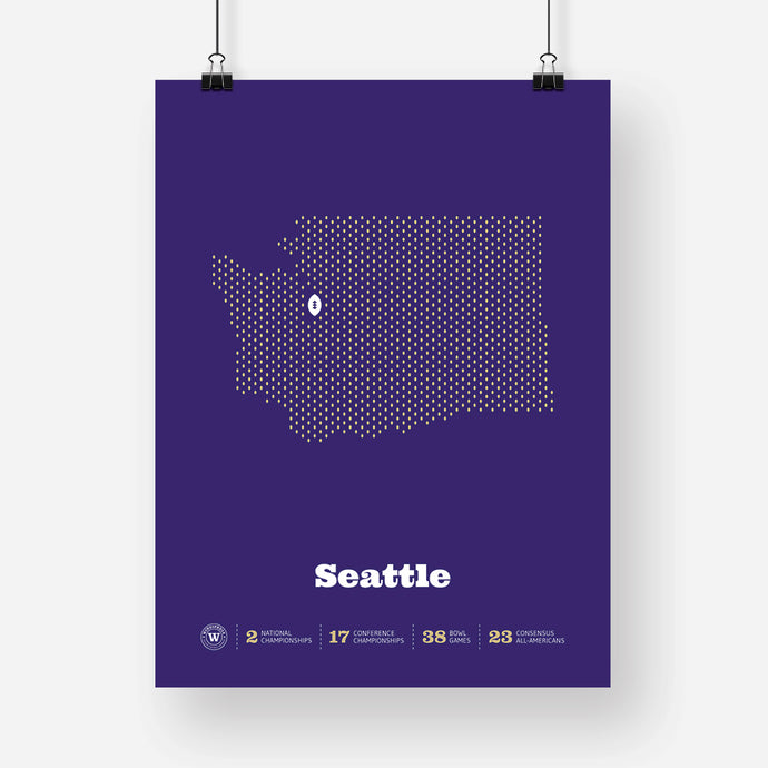 Seattle, Washington Football Map Stats Poster