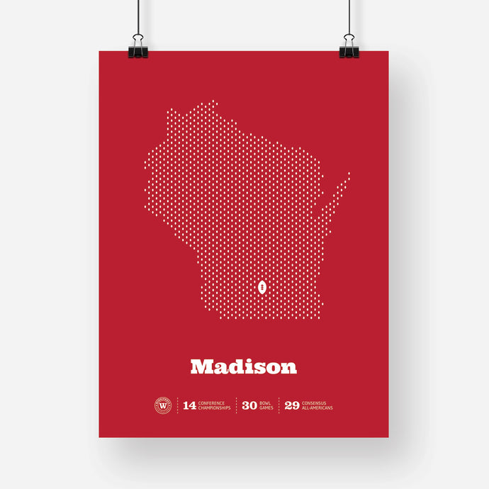 Madison, Wisconsin Football Map Stats Poster