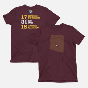 Tempe, Arizona Football Map Stats T-Shirt