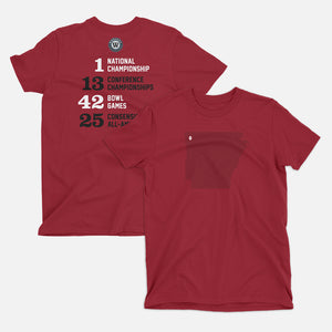 Fayetteville, Arkansas Football Map Stats T-Shirt