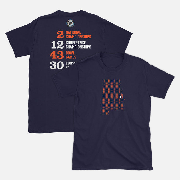 Auburn, Alabama Football Map Stats T-Shirt, Navy