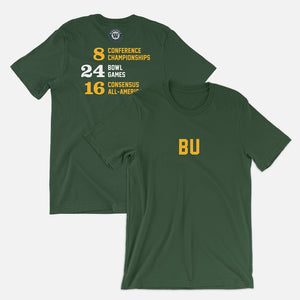 BU Football Stats T-Shirt, Green