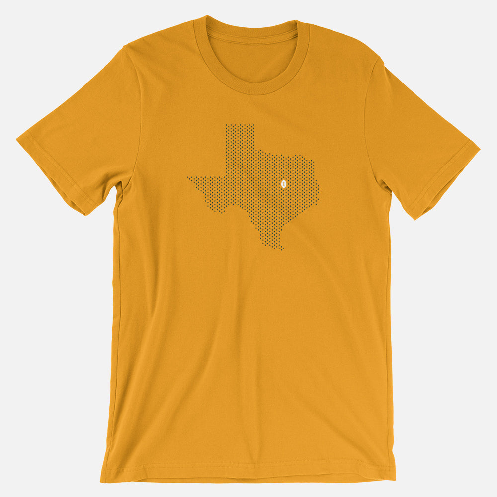 Waco, Texas Football Map T-Shirt, Gold