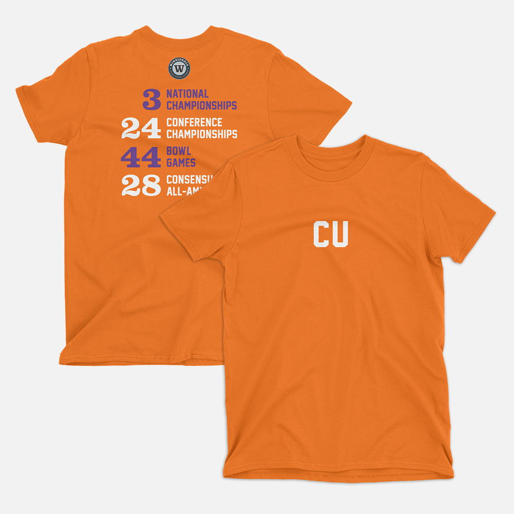 CU Football Stats T-Shirt, Orange