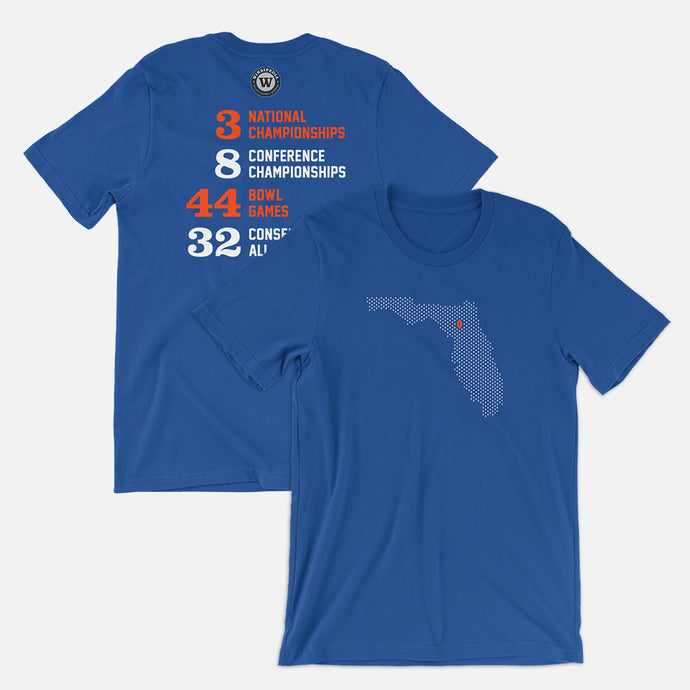 Gainesville, Florida Football Map Stats T-Shirt, Royal Blue