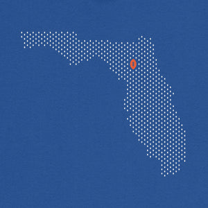 Gainesville, Florida Football Map T-Shirt, Royal Blue