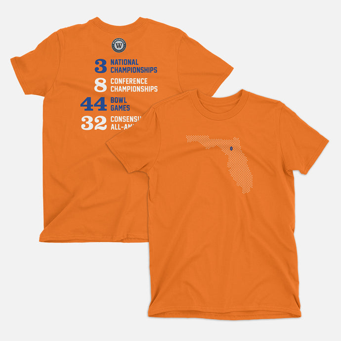Gainesville, Florida Football Map Stats T-Shirt, Orange