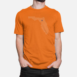 Gainesville, Florida Football Map T-Shirt, Orange