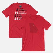 Load image into Gallery viewer, Athens, Georgia Football Map Stats T-Shirt, Red