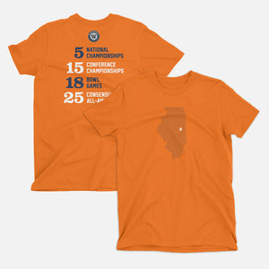 Urbana Champaign Illinois Football Map Stats T Shirt Orange
