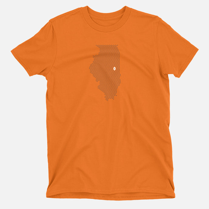Urbana-Champaign, Illinois Football Map T-Shirt, Orange