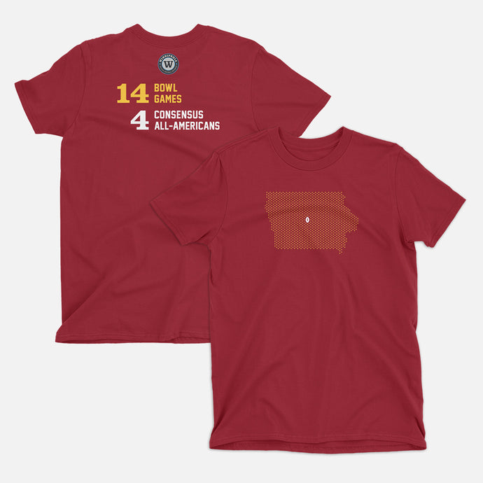 Ames, Iowa Football Map Stats T-Shirt