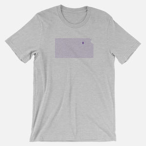 Manhattan, Kansas Football Map Stats T-Shirt, Heather Gray