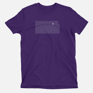 Manhattan, Kansas Football Map Stats T-Shirt, Purple
